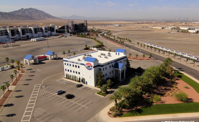 Aerial view of the ticket office and gift shop at the Las Vegas Motor Speedway in Las Vegas, Nevada.