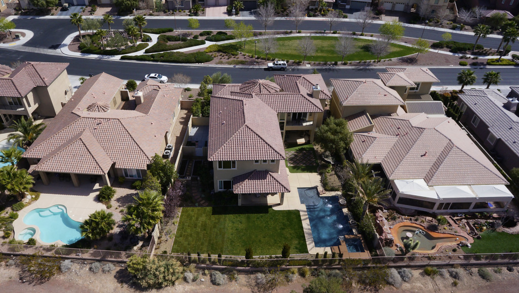 Aerial photo of a home in Silverstone Ranch in North Las Vegas, Nevada.